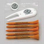 Custom Golf Combo Pack of 5 Tees, 1 Ball Marker & 1 Divot Tool
