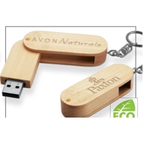 Madera Wood USB Flash Drive w/ Keychain (4 GB)