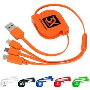 3-in-1 Retractable Noodle Cable w/Type C USB
