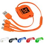 Custom 3-in-1 Retractable Noodle Cable w/Type C USB