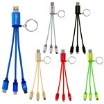 Custom Metallic 3-in-1 Keychain Cable with Type C USB