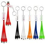 Custom Swivel 3-in 1 Keychain Cable with Type C USB