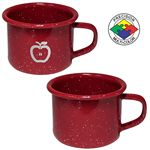 Custom 4 oz Red Speckled Enameled Steel Espresso Cup