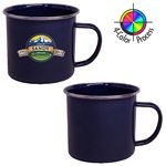 Custom 16 oz Enameled Steel Cup with Stainless Rim (Screen Printed)