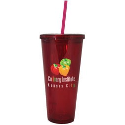 24 Oz. Tall Acrylic Double Wall Chiller Cup & Straw - 4C Process (Clear)