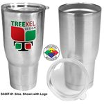 Custom 32 oz Vacuum Double Wall Tumbler with Drink Through Lid (Screen Printed)
