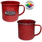 Custom 12 oz Red Speckled Enameled Steel Cup with Polished Stainless Steel Rim