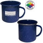 Custom 12 oz Blue Speckled Enameled Steel Cup with Polished Stainless Steel Rim