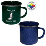 Custom 24 oz Blue Speckled Enameled Steel Cup with Polished Stainless Steel Rim