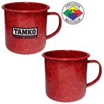 Custom 12 oz Red Speckled Enameled Steel Cup