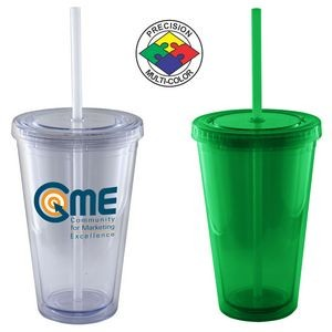 16 Oz. Lime Green Acrylic Double Wall Chiller Cup & Straw - Screen Printed