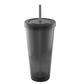 24 Oz. Tall Acrylic Double Wall Chiller Cup & Straw - Screen Print (Smoke)