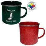 Custom 24 oz Red Speckled Enameled Steel Cup with Polished Stainless Steel Rim