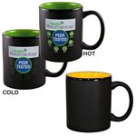 Custom Vanish Ink on 11 Oz. Matte Black out Color in Two Tone Mug - Screen Printed