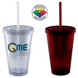 16 Oz. Maroon Acrylic Double Wall Chiller Cup & Straw - Screen Printed