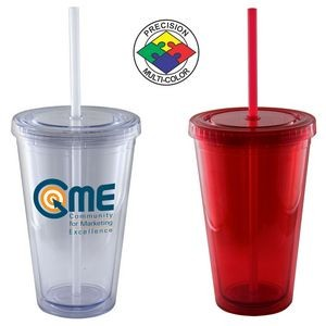16 Oz. Red Acrylic Double Wall Chiller Cup & Straw - Screen Printed