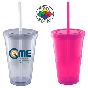 16 Oz. Magenta Pink Acrylic Double Wall Chiller Cup & Straw -Screen Printed