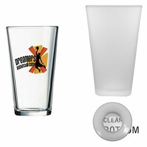 16 Oz. Frosted Pint Mixing Glass w/Clear Bottom (Screen Printed)