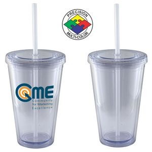 16 Oz. Clear Acrylic Double Wall Chiller Cup & Straw - Screen Printed