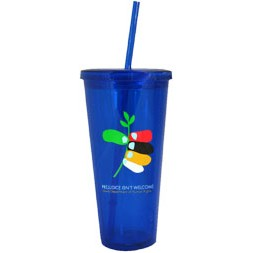 24 Oz. Tall Acrylic Double Wall Chiller Cup & Straw - Screen Printed (Blue)