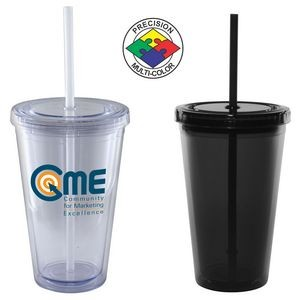 16 Oz. Matte Black Acrylic Double Wall Chiller Cup & Straw - Screen Printed