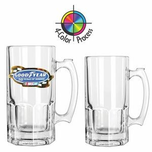 34 Oz. Clear Glass Beer Tankard (4 Color Process)