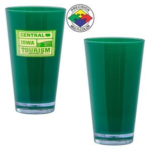 16 Oz. Green Acrylic Pint Mixing Glass with Clear base (Screen Printed)