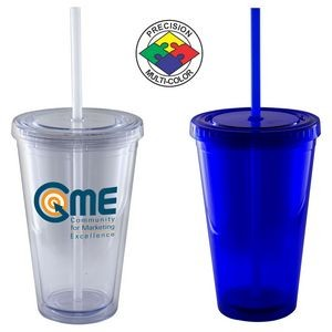 16 Oz. Blue Acrylic Double Wall Chiller Cup & Straw - Screen Printed