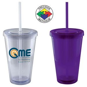 16 Oz. Purple Acrylic Double Wall Chiller Cup & Straw - Screen Printed