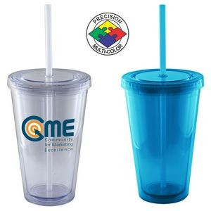 16 Oz. Aqua Blue Acrylic Double Wall Chiller Cup & Straw - Screen Printed