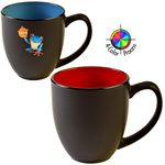 Custom 16 Oz. 2 Tone Satin Bistro Mug (Black/Red) 4 Color Process