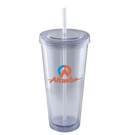 24 Oz. Tall Acrylic Double Wall Chiller Cup & Straw- Screen Printed (Clear)