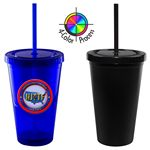 Custom 16 Oz. Matte Black Acrylic Double Wall Chiller Cup & Straw - 4 Color Process