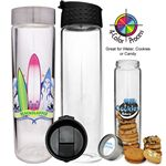 Custom 16 Oz. Clear Glass Cylinder Water Bottle w/ Flip Top Lid (4 Color Process)