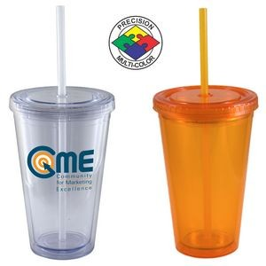 16 Oz. Orange Acrylic Double Wall Chiller Cup & Straw - Screen Printed