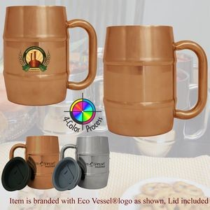 Eco Vessel Copper Colored Polished Stainless Steel Double Barrel Mug with full color