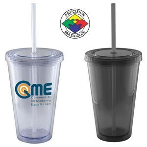 16 Oz. Smoke Gray Acrylic Double Wall Chiller Cup & Straw - Screen Printed