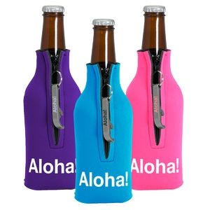 Zipper Bottle Coolie Cover with Bottle Opener (1 Color Cover & Opener)