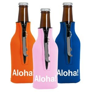 Zipper Bottle Coolie Cover with Blank Bottle Opener (1 Color)
