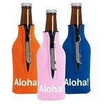 Custom Zipper Bottle Coolie Cover with Blank Bottle Opener (1 Color)