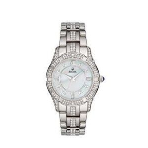 Bulova Ladies' Crystal Watch W/ Mother of Pearl Dial