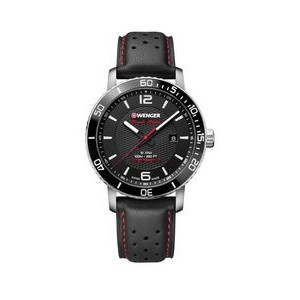 Swiss Army Roadster Black Night Black Dial, Black Leather Strap