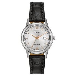 Citizen Ladies Eco-Drive Watch, Stainless Steel with Black Leather Strap & Rose Gold Accents