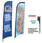 Custom Promotional Advertising Custom Vertical Promo Flag w/ Ground Stake (12')