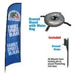 Custom Promotional Advertising Custom Vertical Promo Flag w/ Water Bag Stand (15')