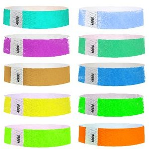 "3/4"" Solid Color Tyvek Wristband Unimprinted"
