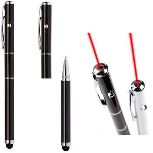 Laser pointer, stylus, ball point pen, 3 in one multifunctions pen - black