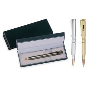 Bullet Pen - Metal bullet shape ball point pen, rifle shape clip with black velvet gift box