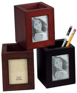 Wood Pen & Pencil Holder Cup /Picture Frame