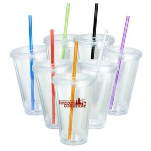 Acrylic Cup w/Color Straw - 16 Oz